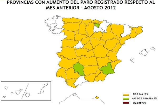 Aumento Paro Registrado. Agosto 2012